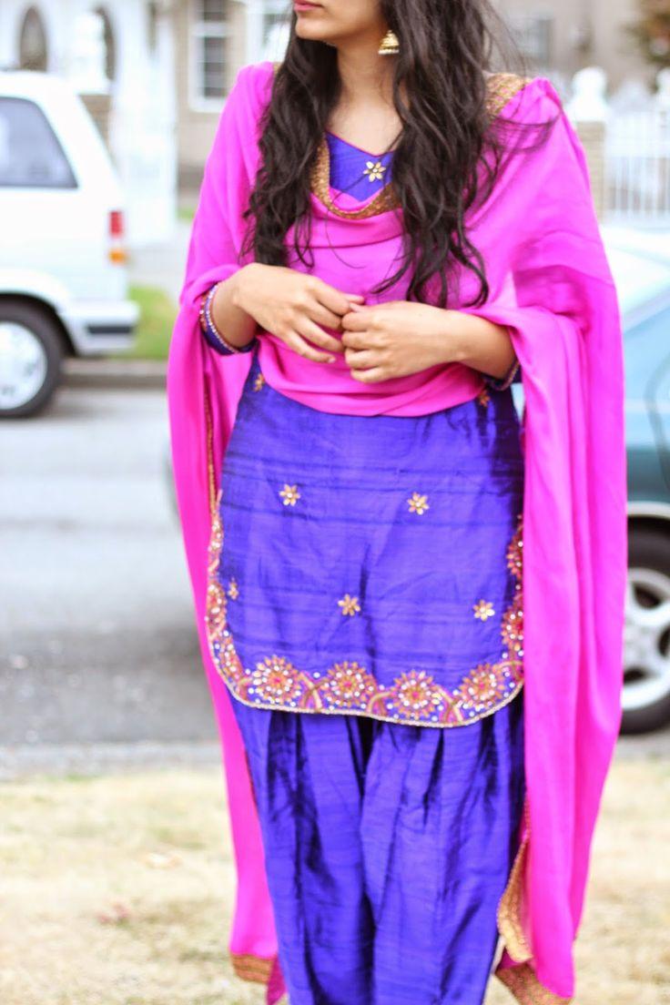 purple and hot pink punjabi suit