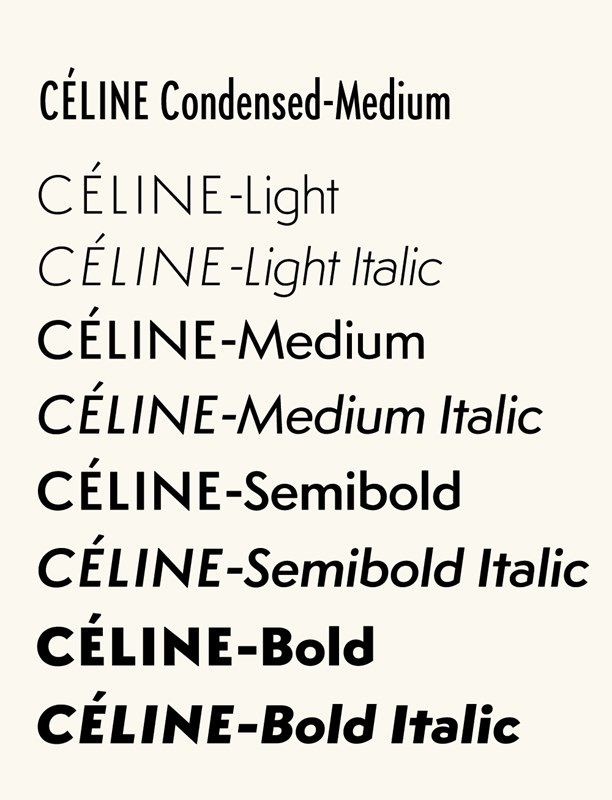 """In 2005, typographic designer Hannes Famira was commissioned by Peter Miles to create a custom typeface for the corporate design of Céline. It is based on a typeface called Semplicità (1931), created for the Fonderia Nebiolo by Italian type designer Alessandro Butti, the head of the foundry's Studio Artistico. """"Following an initial conversation, Peter sent me a number of scans of the original metal type specimens pages"""", explains Famira."""