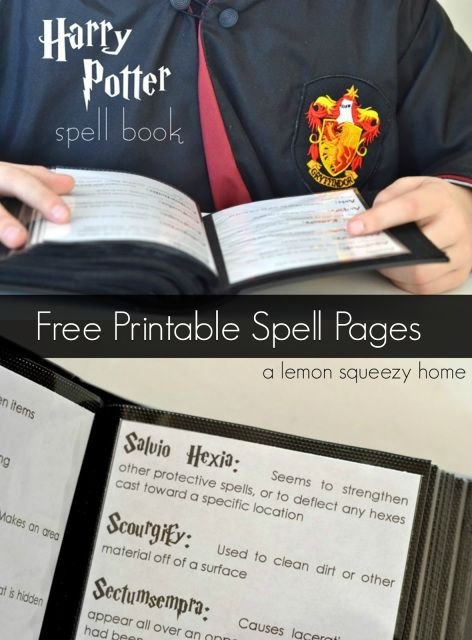 Creating a Harry Potter spellbook is a fantastic idea! One could be made using yellowing parchment and old-seeming binding, and placed on a stand during a party. Or, it could be a prize for a difficult Harry Potter-related game. Perhaps they can be organized based on function, (ex. attack, defense, etc.). This could be one website to help speed the process: http://harrypotterspells.net/ -SvH