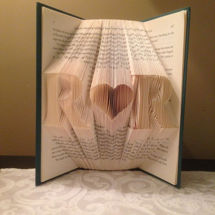 Initial 'Heart' Initial folded book art