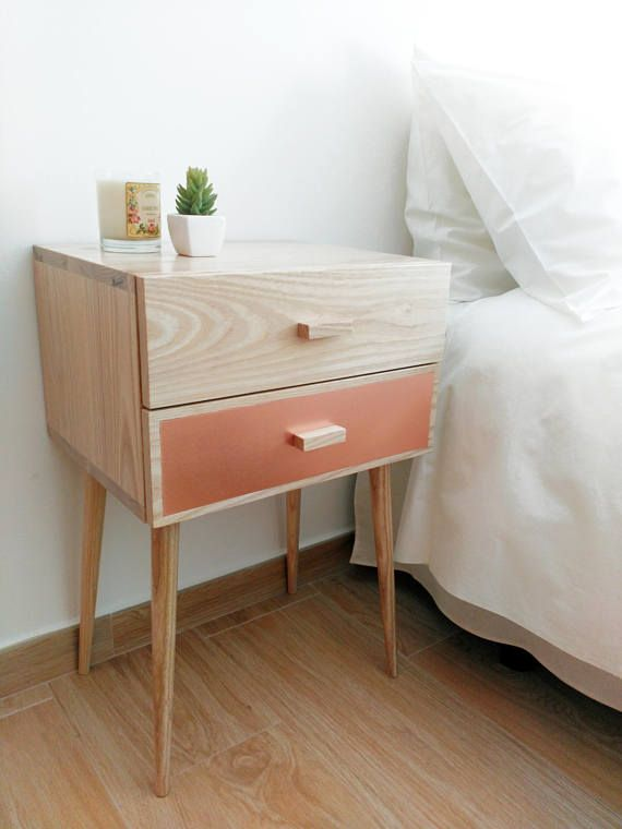 Nightstand Mid Century Modern Made Of Solid Ash Wood And