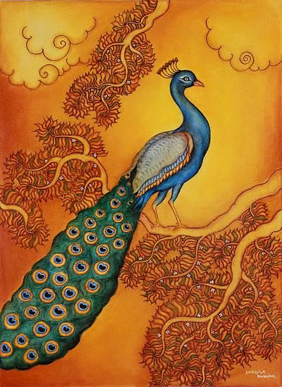 Peacock at Sunset Signed Art Painting from India - Sunset Beauty | NOVICA