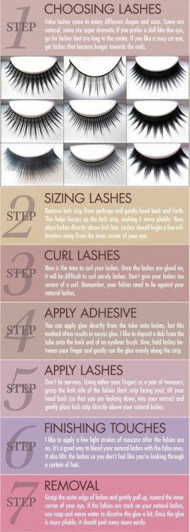 False eyelashes are kind of terrifying if you don't know how to apply them properly. Luckily there's help. | 28 Makeup Charts That'll Make Your Life So Much Easier