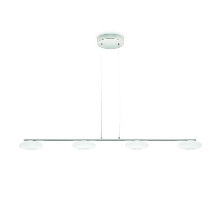 TARBERT - elegancka lampa wisząca Philips myLiving z funkcją przyciemniania. Rzuca mnóstwo ciepłego, białego światła LED z ustawionych w równym rzędzie czterech okrągłych lamp z mlecznego szkła zamocowanych na drążku ze szczotkowanego aluminiowym. System click!FIX umożliwia łatwą instalację. Minimalna wysokość - 10 cm, maksymalna wysokość -150 cm, długość - 102,3 cm, szerokość -13,4 cm #Philips #Lighting #PhilipsShowroom #oświetlenie #jadalni