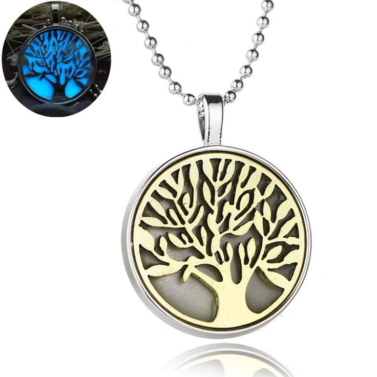 Steampunk Style Glow In the dark Jewelry with Tree of Life Pattern Diffuser Essential  Pendant Choker Necklace for Women