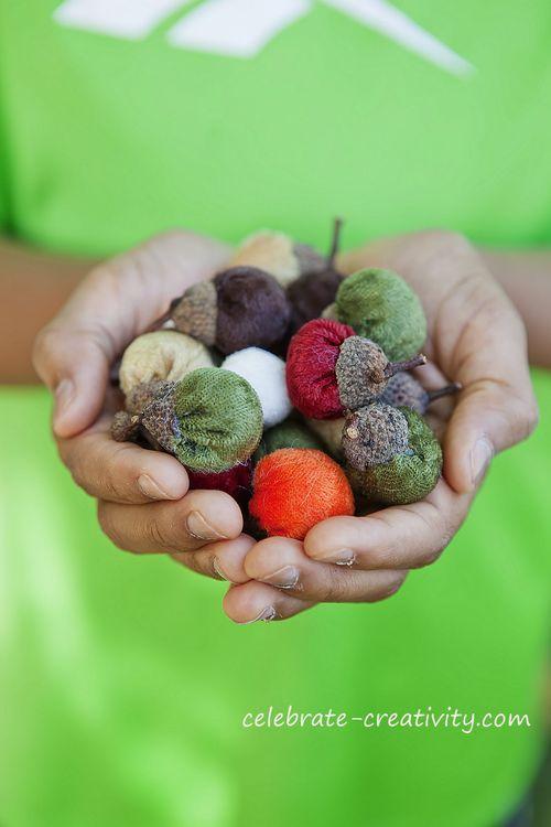 handful of velvet acorns DIY ... http://www.celebrate-creativity.com/my_weblog/2012/10/velvetacorns.html