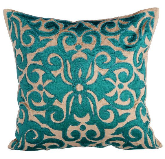 Loyal to Peacock - 16x16 Choco Brown Velvet Appliqued with Peacock Green velvet Throw Pillow.