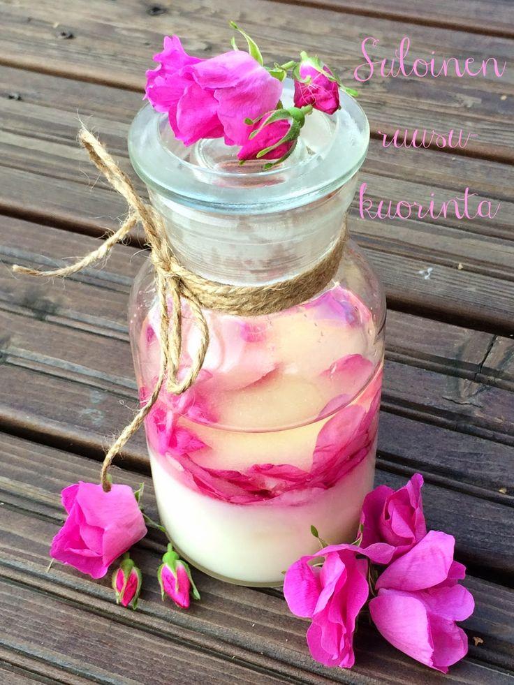 ruusukuorinta, sokerikuorinta, tee-se-itse kosmetiikka, rose, diy cosmetics