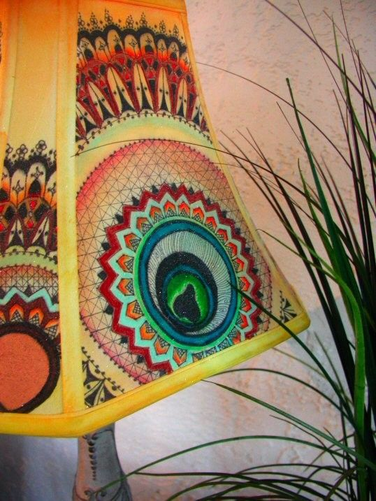 Golden Peacock, Hand Painted Lamp Shade