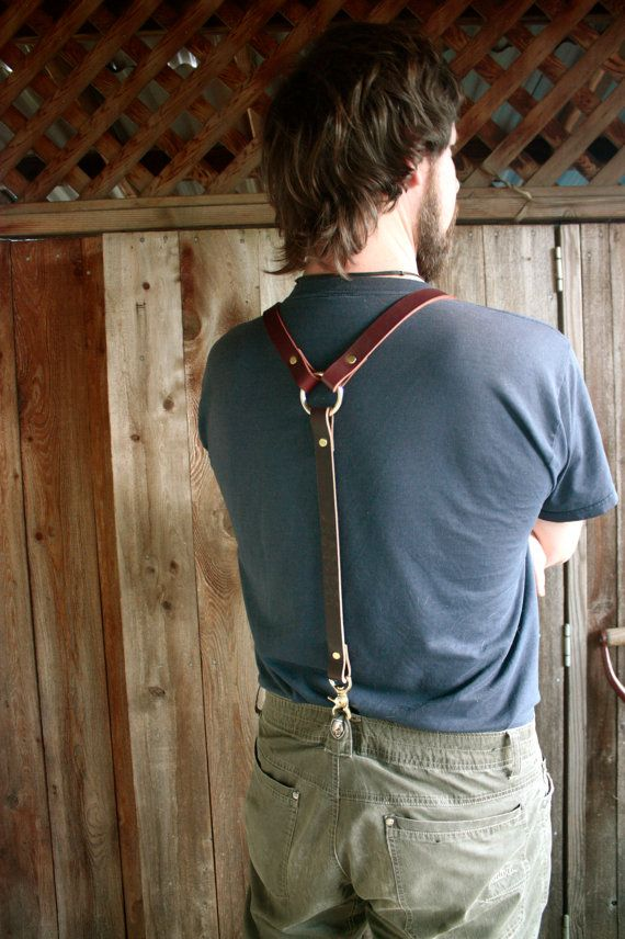 Handmade Leather Suspenders Steampunk with brass by ADHLeatherCo