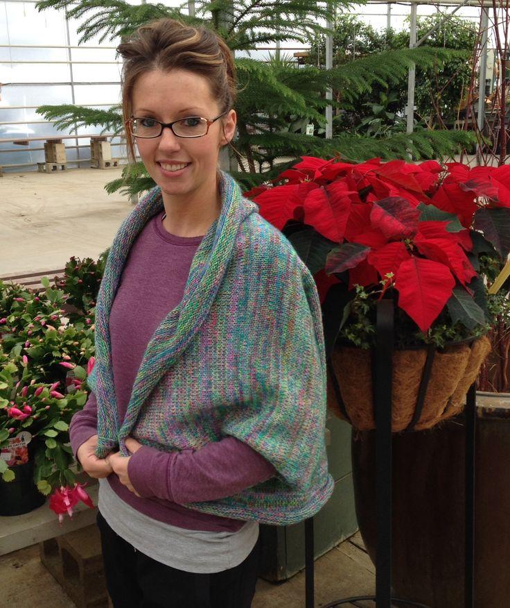 sweater shawl in green tones