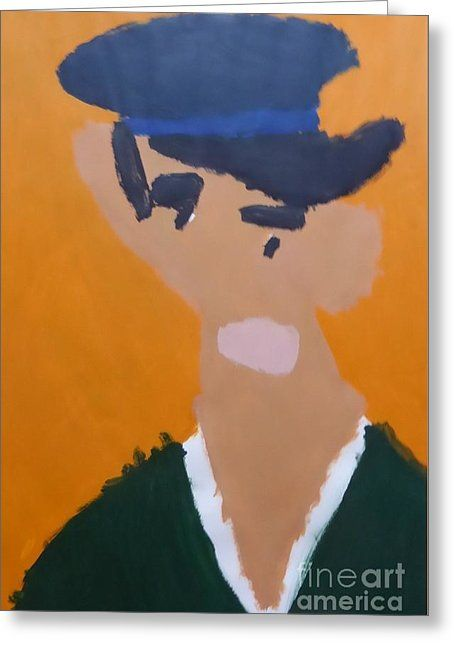 Patrick Francis Greeting Card featuring the painting Young Man With A Hat 2014 - After Vincent Van Gogh by Patrick Francis