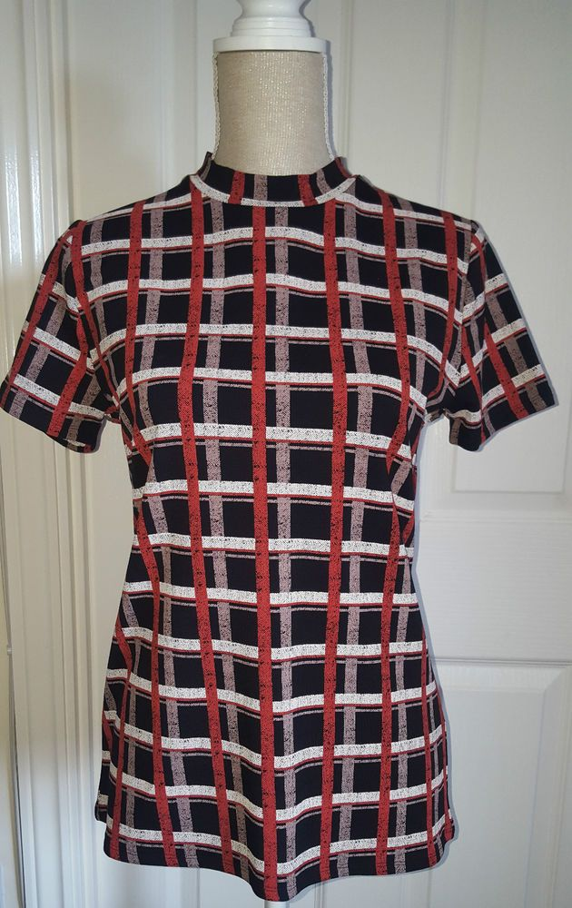 NEW MARKS AND SPENCER VINTAGE ORANGE BLACK CHECKED TURTLE NECK TOP 8 to 24