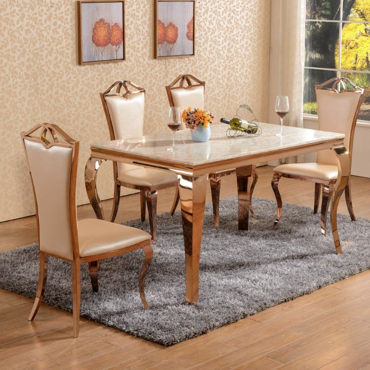 Rose Gold Dining Table  Chairs Set with Marble Top