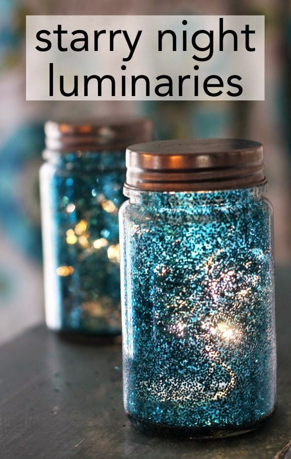 DIY wedding centerpiece: starry night luminaries