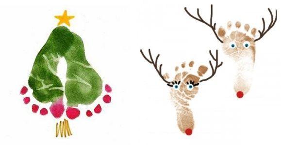 Odcisk stóp i dłoni - pomysł na świąteczne prace plastyczne