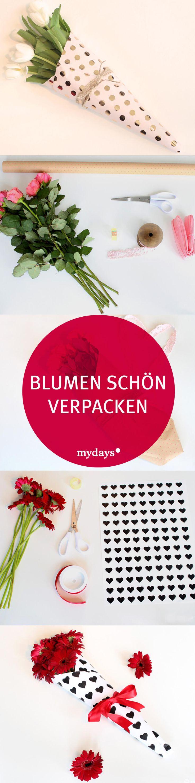 Blumen schön verpacken Blumengeschenke DIY