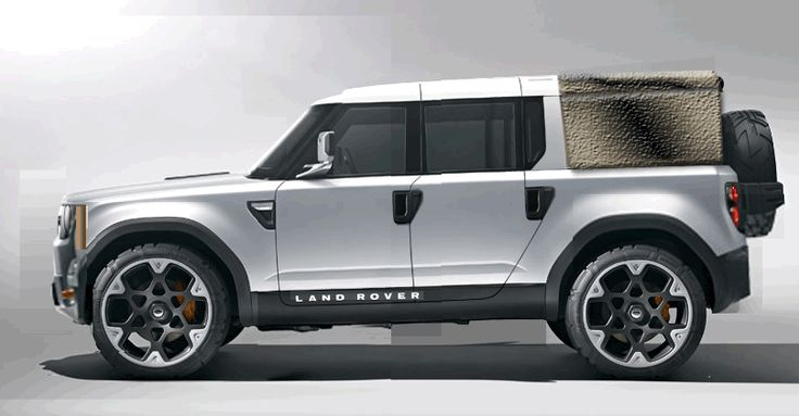 Double Cab Pickup - Land Rover Defender DC100 concept - modified with new front end, stretched to double cab, canvas or GRP pickup cover and added Land Rover ruggedness.
