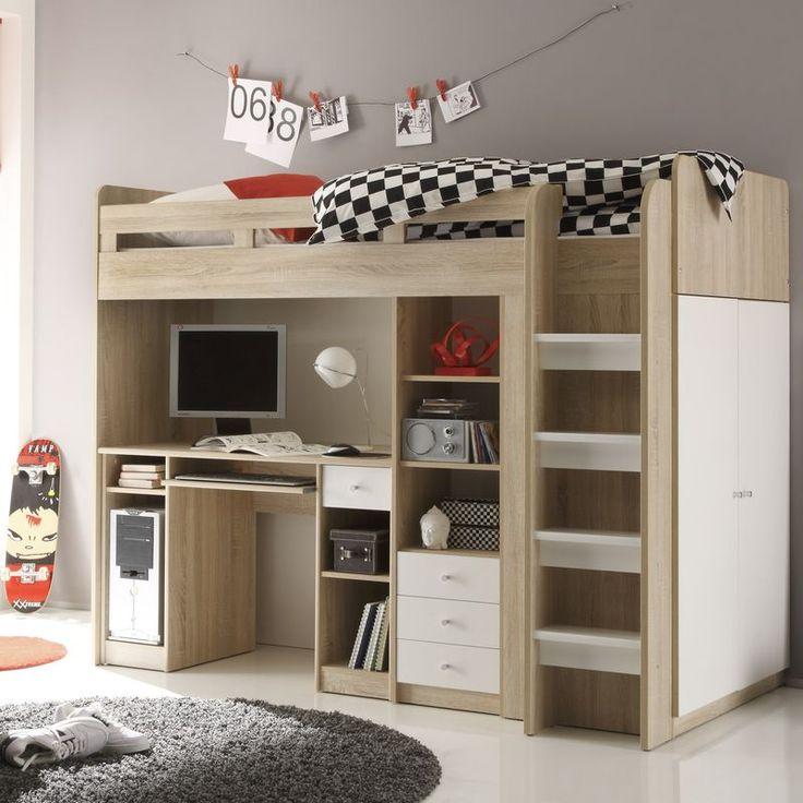 Cute Jugendzimmer Unit Hochbett mit Kleiderschrank x Eiche Sonoma wei Hochbetten g nstig