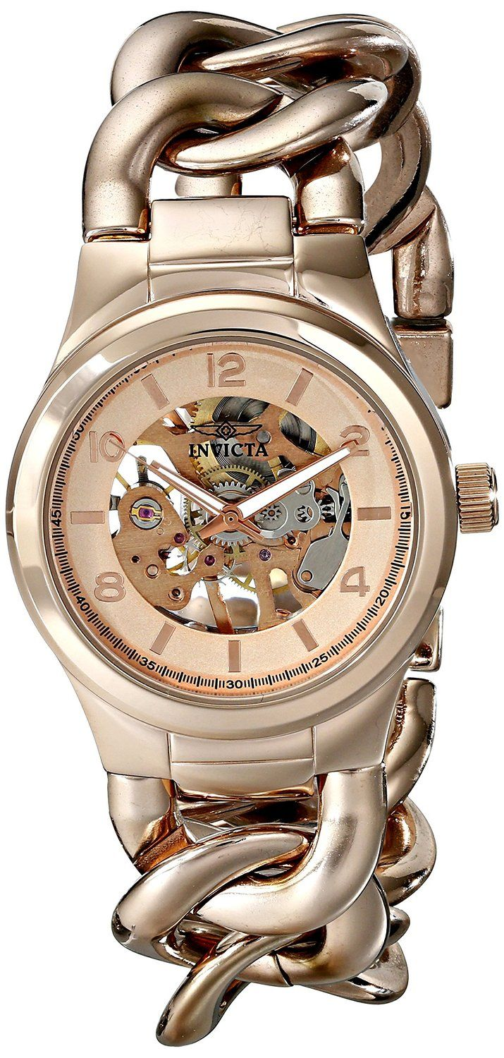 Invicta Women's 17252 Angel Analog Display Mechanical Hand Wind Rose Gold Watch.  Bringing you the best luxury watches online at the most affordable prices for premium brand name watches: http://www.bestwatches1st.com/#!invicta-angel-watch-collection/kb04e