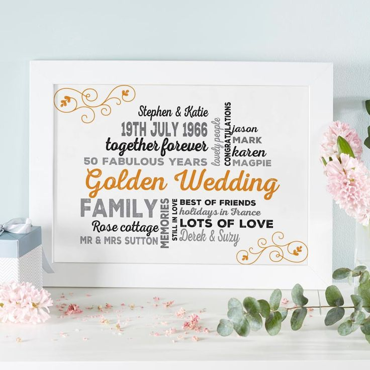 If you are searching for a unique golden anniversary gift for the happy couple, try making a personalised word art print or canvas. See your design come to life as you type with instant previews. All orders shipped in just 2 working days with free UK delivery