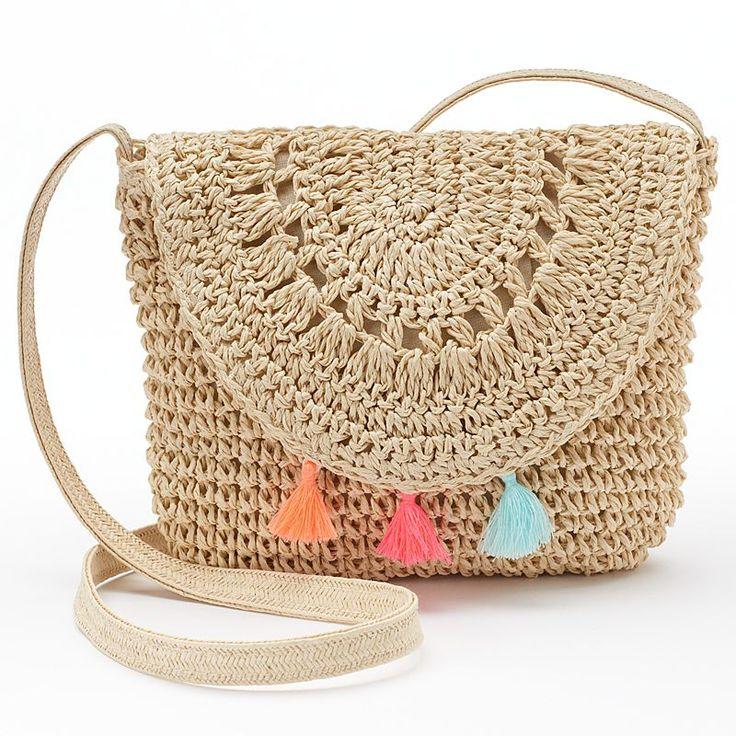 Girls 4-16 Crochet Tassel Crossbody Bag, Girl's, Natural