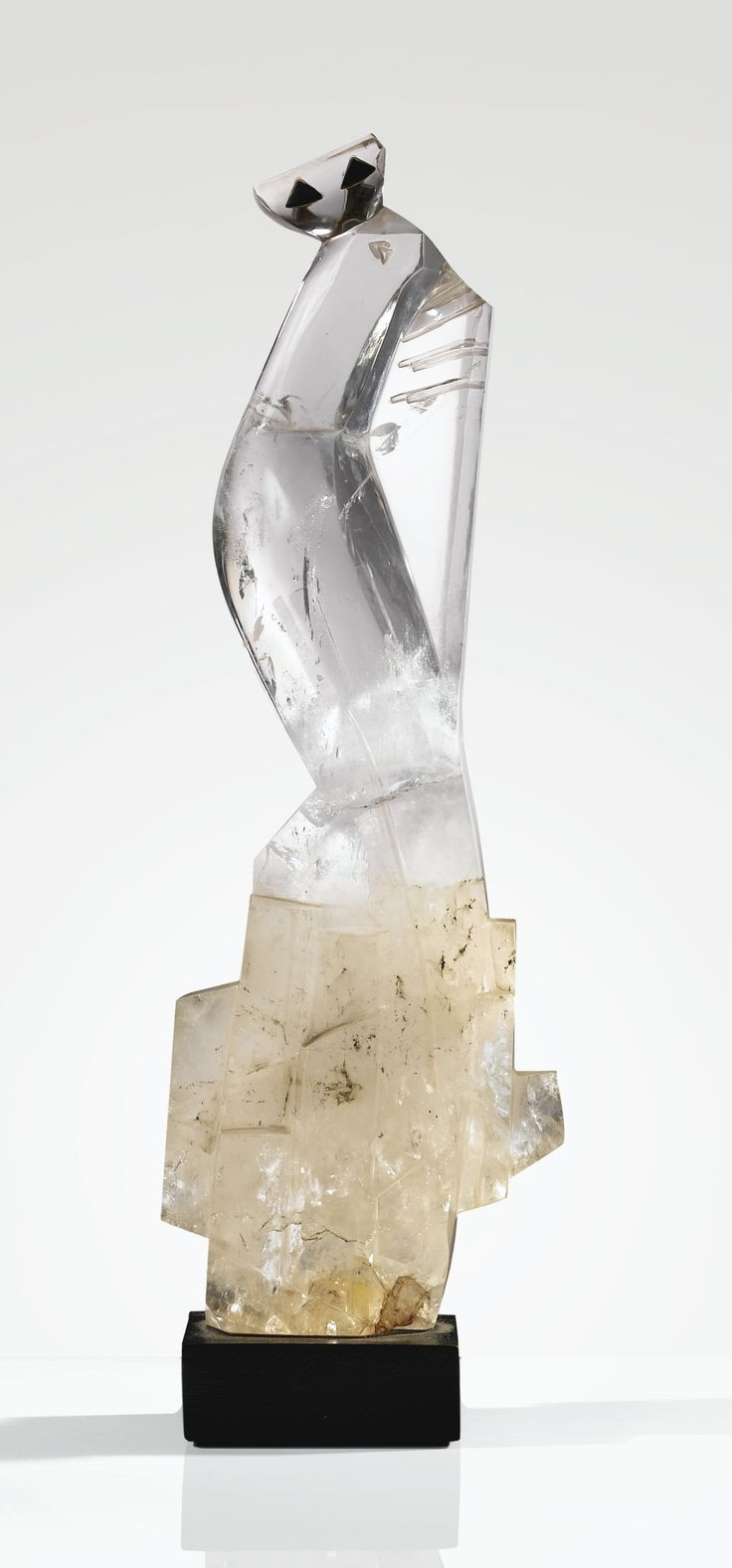 'PAON', A UNIQUE ROCK CRYSTAL AND OBSIDIEN SCULPTURE BY JOSEPH CSAKY, ON LATER WOODEN BASE, 1930 | Sotheby's