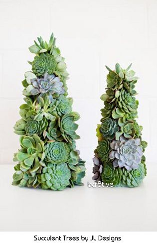 Succulent Christmas Trees (and instructions for DIY) - Succulent Trees by JL Designs http://jldesigns.blogspot.com/2010/12/jl-designs-holiday-collection-2010.htm
