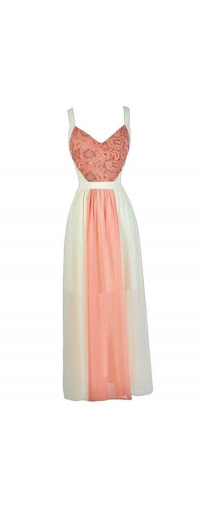 In The Center Lace and Chiffon Dress in Peach/Cream  www.lilyboutique.com