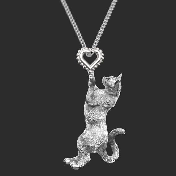 Cat Breed Jewelry Kitten Heart Charm