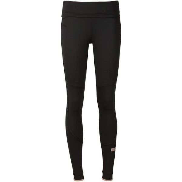 Adidas By Stella Mccartney 'The Fold' leggings (157 CAD) ❤ liked on Polyvore featuring pants, leggings, black, elastic waist pants, foldover pants, skinny leggings, skinny pants and black skinny leggings