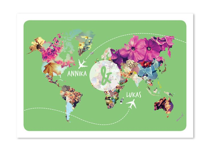 Hochzeitseinladung | Weltkarte von mess is mine auf DaWanda.com