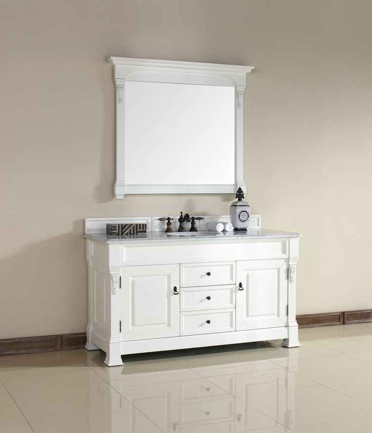Abstron 60 Inch White Finish Single Traditional Bathroom Vanity Optional  Countertop