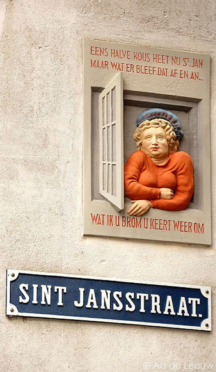 Stonetablet in St Jansstraat ( St John's street ) in the city of Deventer