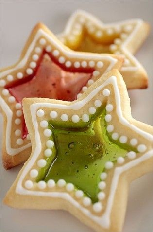 Stained Glass Cookies: Roll out the dough and with cookie cutters cut the dough into stars, snowflakes, or diamonds—whatever you like, then using a smaller cookie cutter or a knife, cut shapes into centers of cookies. Fill the space with a crushed hard candy and cut a hole at the top of the cookie, so you can hang them after they bake. Pop them in the oven and the candy melts for a beautiful stained glass effect.