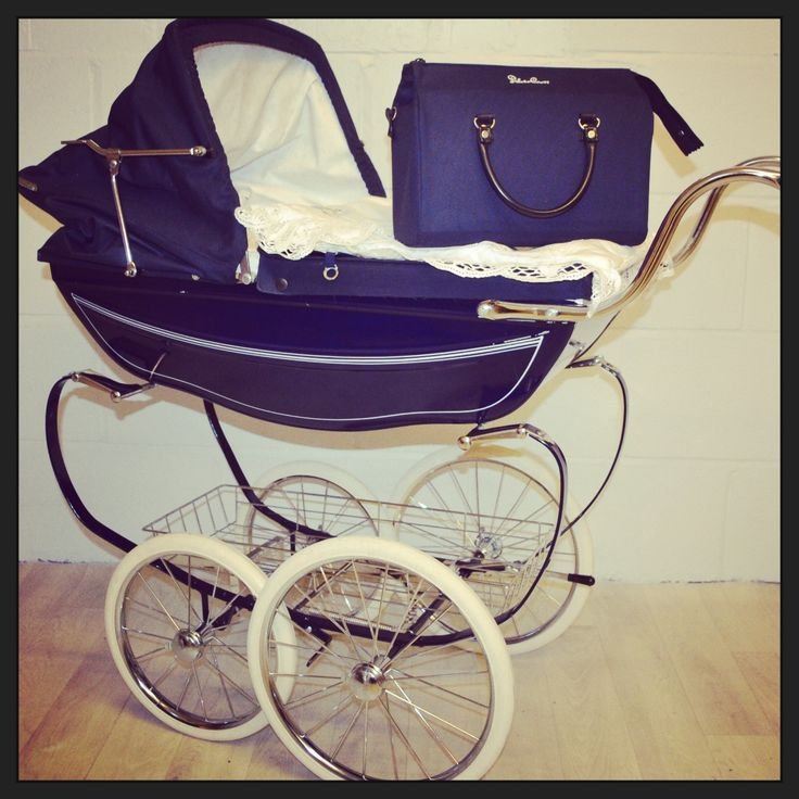 Classic Navy Silver Cross Dolls Pram with Matching Bag and Pram Cover Set
