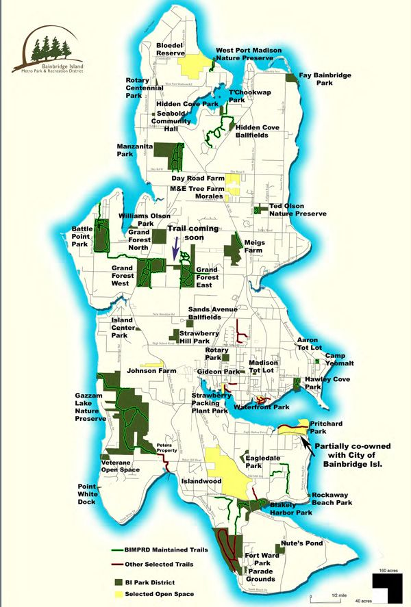 Here's a great map of all the parks on Bainbridge Island, via www.biparks.org. Do you have any good Bainbridge Island parks and trails recommendations for this board?