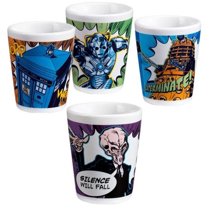Doctor Who Shot Glass Set in Unique Glasses + Shot Glasses Gifts