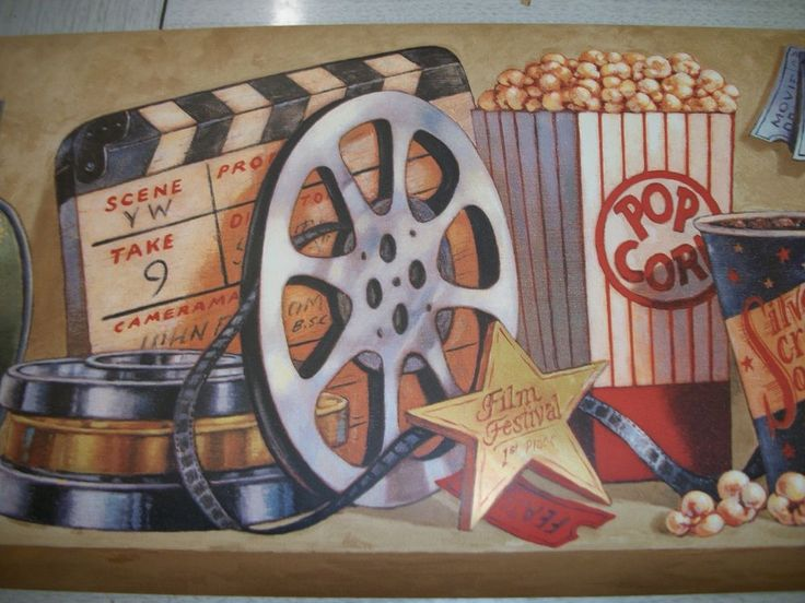 YORK HOLLYWOOD POPCORN MOVIE REEL TICKETS SODA WALLPAPER BORDER NV9727B #YORKWALLCOVERINGS