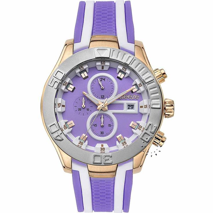 BREEZE Milkshake Stripes Chrono Purple Rubber Strap Τιμή Προσφοράς: 166€ http://www.oroloi.gr/product_info.php?products_id=30579