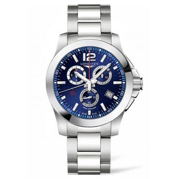L38004966 Ανδρικός quartz χρονογράφος LONGINES Conquest με μπρασελέ, μπλε καντράν & ημερομηνία | Ρολόγια LONGINES επίσημος συνεργάτης στο Χαλάνδρι #conquest #χρονογραφος #longines #ρολόι