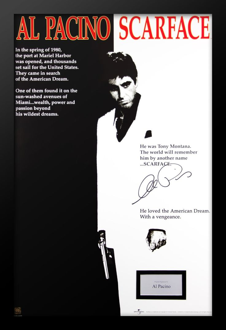 Scarface Movie Poster Signed by Al Pacino