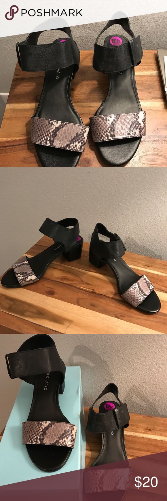 Black with gray/white leather/manmade upper. New. Never been worn. Leather/manmade upper with Velcro tie. Franco Sarto Shoes Sandals