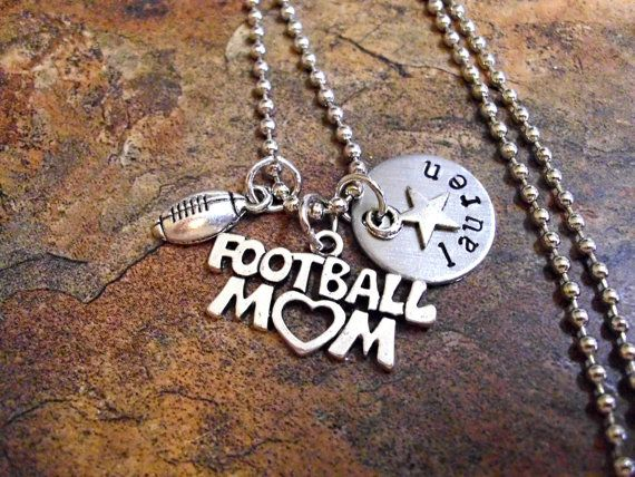 Personalized Football Mom Necklace, Sports Jewelry, Football Jewelry, Hand Stamped Football Jewelry on Etsy, $21.00