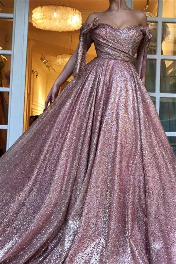 Glamorous Off-The-Shoulder Sequins A-Line Evening Dress | Babyonlinewholesale
