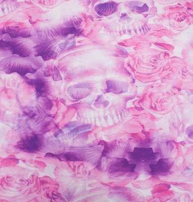 Økologisk digitalprint af roser og kranier, jersey