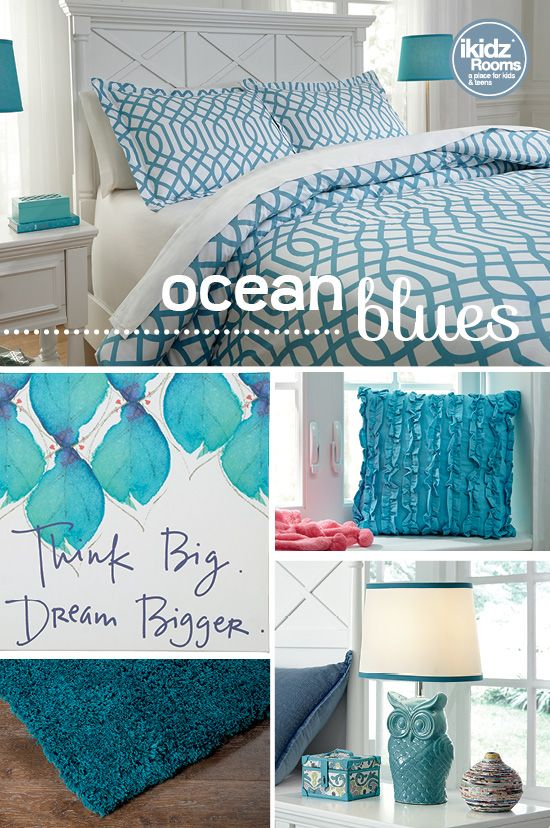 #iKidzRooms #OceanBlues #SummerStyle - Bring the cool waves of the ocean right into your room with a turquoise color theme! Start with a patterned bedding set and continue to pair up teal wall art, pillows, rugs and lamps until your room is full of this rich ocean color! Featuring the Loomis Aqua Full Comforter Set - iKidz Rooms® - Kids, Teen and Youth Bedroom Furniture, Bedding and Accessories