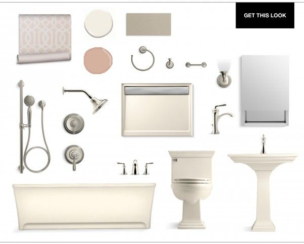 Transitional Twist on the Pale Neutral Bathroom/ Kohler Supplied at PDI. www.relyonpdi.com