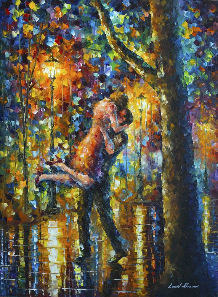 Leonid Afremov -  LONG TIME AGO -  Original, oil, painting, palette knife, impressionist, impressionism, surreal, surrealism, city, buy painting, buy art , purchase painting, purchase art, cityscape
