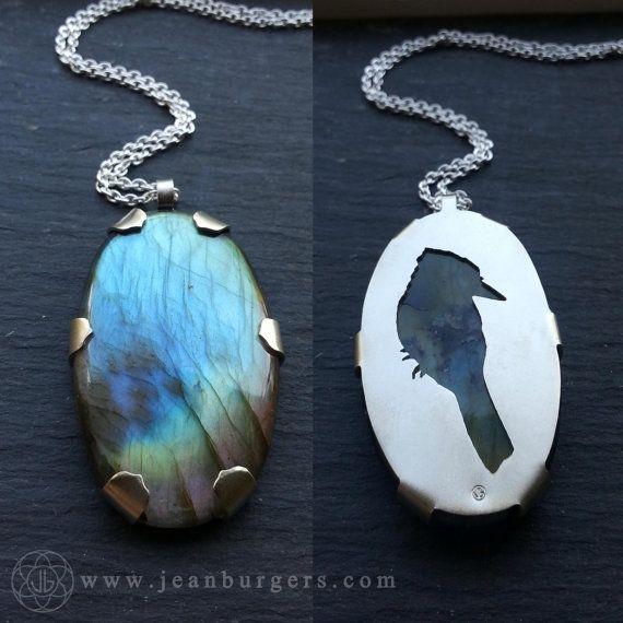 Kookaburra Labradorite Pendant - Handcut sterling silver and labradorite - Spirit Animal Series